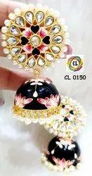 CL Jewellery Meena Kundan Jhumki Imitation Fashion Export Quality Earrings
