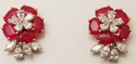 trendy occasional  designer  diamond studded floral shaped ruby earrings
