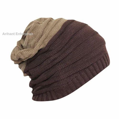 Brown Acrylic Woolen Slouchy Beanie Cap 11cd9a3b96f