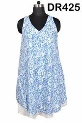 Cotton Hand Block Printed Long Women's Spaghetti Casual Dress DR425