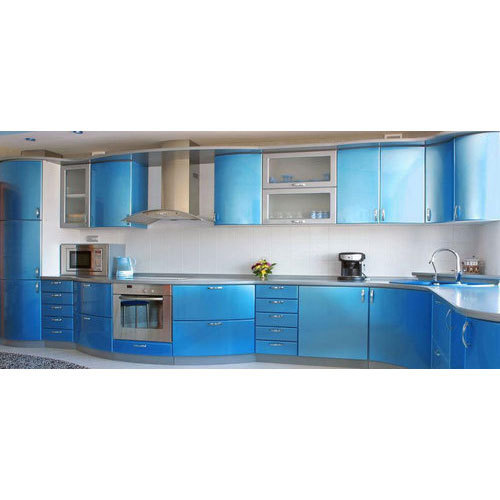 Designer Modular Kitchen At Rs 360 Square Feet: Sky Blue And White Stylish Modular Kitchen, Rs 1200