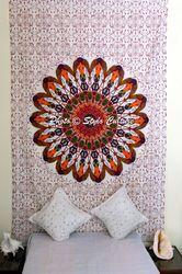Twin Orange Floral Mandala Tapestry Wall Hanging