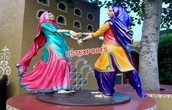 Punjabi Culture Kiklee Playing Fiber Statues