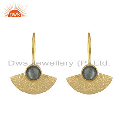 Labradorite Stone Designer Gold Plated 925 Silver Texture Earring