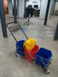 blue red Plastic Three Bucket Mop Wringer Trolley, Model Name/Number: SMWB3, Size: 60L