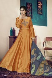 Full Length Embroidery Designer Gown With Dupatta By Parvati Fabric