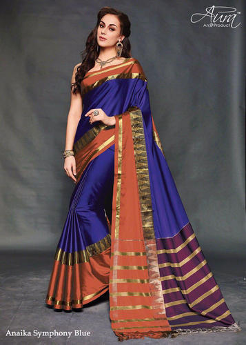 4b3ebf74b7 Blue Aura Anaika Silk Cotton Sarees, With Blouse Piece, Rs 940 ...
