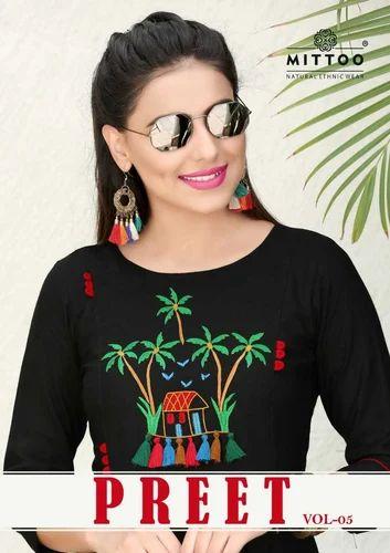 2cf4b98e32 Casual Wear Embroidered MITTOO PREET VOL 5 SLUB RAYON KURTIS, Rs 580 ...