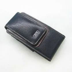 Black Leather Mobile Pouch, Size: 3 - 5 Inch