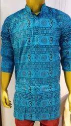 Mid Thigh Cotton Om Printed Kurta for Men