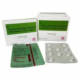 Trypsin 48 mg Bromelain 90 mg Rutoside 100 mg Diclofenac Sodium 50 mg Tablets