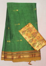 Formal Wear Handwoven Mercerised Cotton Sarees with Double Blouse, Hand Made