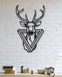 Kraft Vision Decoration Deer Under Triangle Black Finish Metal Wall Art, Size: 36 h x 24 w Inches