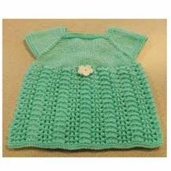 Girls Green Baby Woolen Frock