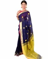 Blue Party wear Ball Printed Linen Saree, Blouse Size: .8m, Hand Made