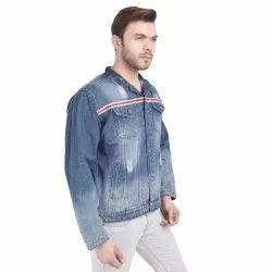 Skupar Ripped Men Denim Jacket With Stripes