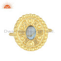 18k Yellow Gold Plated 925 Silver Blue Topaz Gemstone Rings Jewelry