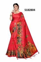 Khadi Cotton Silk Printed Jhumka Pallu Saree with Blouse