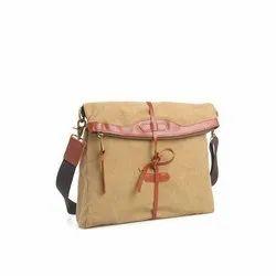 Brown Adjustable Fancy Sling Bag, For College