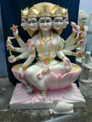 White Marble Gayatri Mata Statue