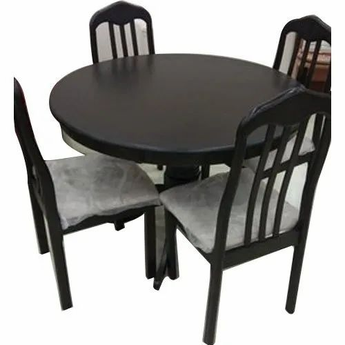 1 Table 4 Chair Brown Round Dining Table Set Rs 32000 Unit M S Maa Bhawani Furniture Id 22481504812