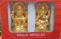 Laxmi Ganesh Statue Gold And Silver, Size: 3 inch