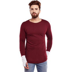 Men Maroon Thumb Hole T Shirt