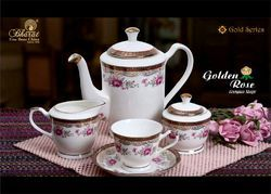 White Ceramic Pink Flower Printed Crockery Set