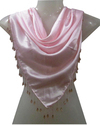 100% Poly Satin Triangle Scarves With Heavy Beaded Fringes