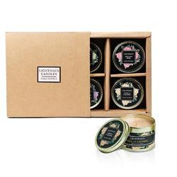 Set 4 Scented Gold Tin Candles Assorted Set