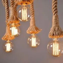Bonzer India Jute MN004 Gorgeous Pendant Rope Light Without Bulb, For Decoration