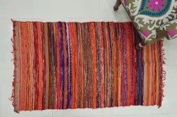 Handwoven Vintage Sari Cotton  Chindi Rug Carpet