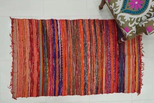 Indian Chindi Rug Vintage Sari Cotton Hand Woven Kilim Carpet Handmade
