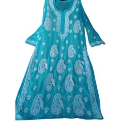 Straight 3/4th Sleeve Ladies Party Wear Georgette Chikan Kurti