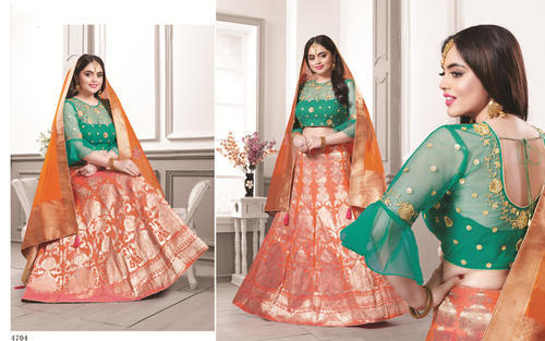 2a33ff4deb Banarasi Silk Orange & Green Designer Lehenga Choli, Rs 3420 /unit ...