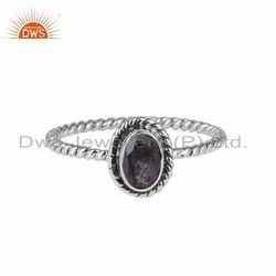 Iolite Gemstone Oxidized 925 Silver Ring Girls Jewelry