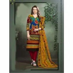 Cotton Ladies Designer Unstitched Salwar Suit, Machine wash