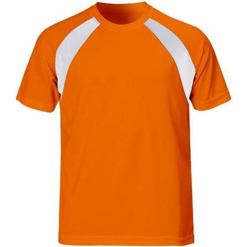 5856a1bd91b9 100% Polyester Orange And White Mens Round Neck Sports T Shirt