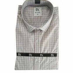 Collar Neck Full Sleeve Mens Check Cotton Shirt, Size: 42