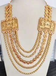 Semi Long Necklace Golden Rajwadi Antique Necklace, Occasion: Wedding