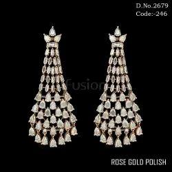 Cubic Zirconia Rose Gold Polish Chandelier Earrings