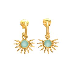 Half Sun Aqua Chalcedony Earrings