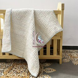 Pure White Handmade Kantha Unisex Baby Kantha Work Blanket