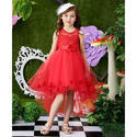 Elegant Frilled High Low Party Dress Red