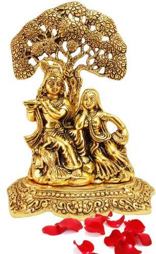 Golden (gold Plated) Beautiful Metal Statue Of Radha Krishna