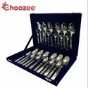 Silver Choozee - Ss Rect-oval Design Cutlery Set Of 24 Pcs