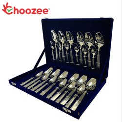 Choozee - SS Cutlery Set of 24 Pcs (Rect-Oval Design)