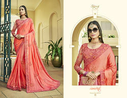 Elegant  Peach Fancy Trendy Sarees