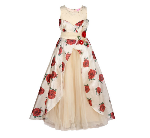 0b502d9de0f Girls Organza Floral Printed Red Winter Gown ( 2211BG-RED ) at Rs ...