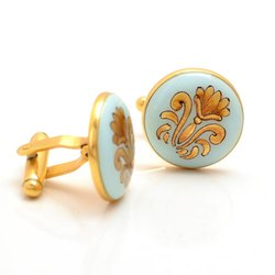 Hand Painted Cufflinks With Golden Motif On Light Blue Enamel In .925 Silver